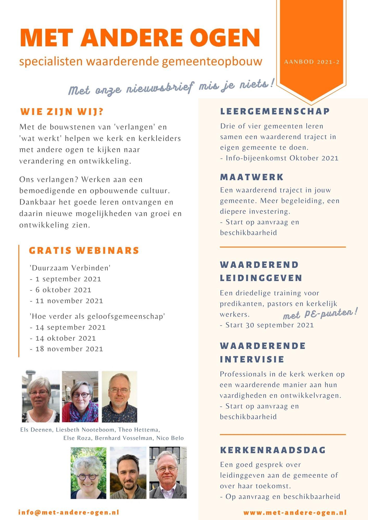 Agenda najaar 2021 gratis webinars MET ANDERE OGEN - waarderende gemeenteopbouw